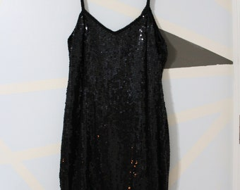 80s Black Sequined Body Con Party Dress