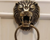 Dolls house minature large antiqued brass lion head door knocker knob handle chunky gothic detailed