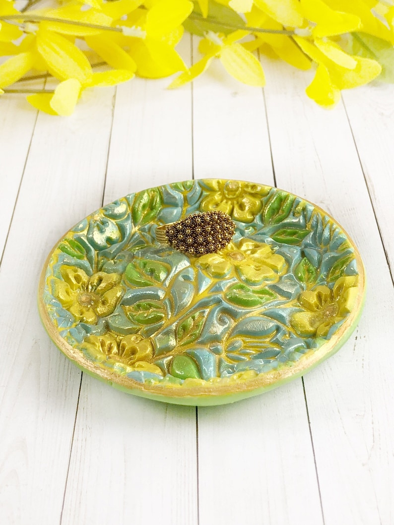Ring Dish Holder Baby Shower Favors Yellow Trinket Dish For New Mom Easter Gift For Her Mother S Day Gift