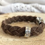 Brown Sueded Leather Diffuser Bracelet with decorative silver piece