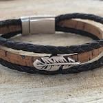 Dark brown braided leather and cork diffuser bracelet