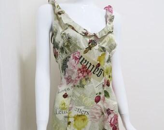Vintage John Galliano Gazette Newspaper Print Silk Evening Gown NWT aeea61d0a