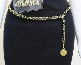 95764110c0de Chanel Chain Belt Gold Tone Black Leather CC Charm