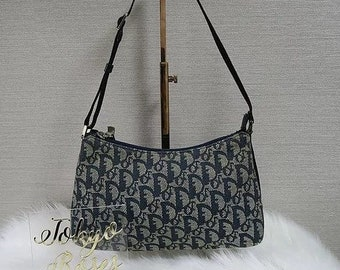 Christian Dior Blue Denim Trotter Logo Monogram Print Mini Bag Canvas 90d94347d3
