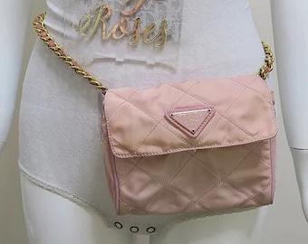 b9041a1826f68b Prada Pink Nylon Quilted Chain Bum Bag Waist Fanny Pack