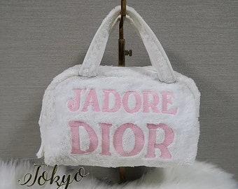 982d5df6c56d Christian Dior Jadore Dior Pink   White Terry Towel Boston Bag Monogram  Trotter