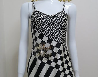 33118eee9d64 Vintage Fendi FF Monogram Logo Print Bodycon Black   White Mini Dress