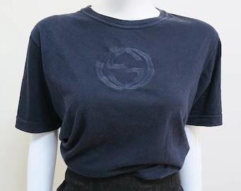4d7caca2 Vintage Gucci Navy Blue GG Logo T Shirt