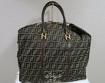 d17b3afb29 Vintage Fendi Boston Travel Bag XL Huge FF Zucca Logo Print Luggage  Overnight