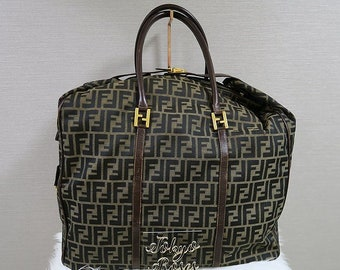 abdc94bec4 Vintage Fendi Boston Travel Bag XL Huge FF Zucca Logo Print Luggage  Overnight