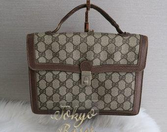 5f6a36a81772 Vintage Gucci GG Monogram Canvas & pelle Business Handbag Briefcase