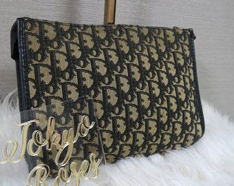 e4aeb6ef66ff Christian Dior Vintage Trotter Oblique Monogram Print Clutch Bag Navy
