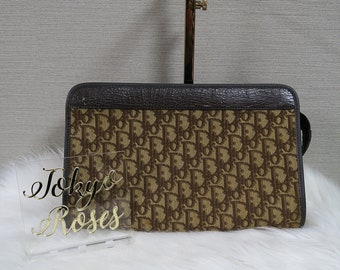 Vintage Christian Dior Brown Trotter Logo Monogram Oblique Print Long  Clutch Bag dc9fb1fc19