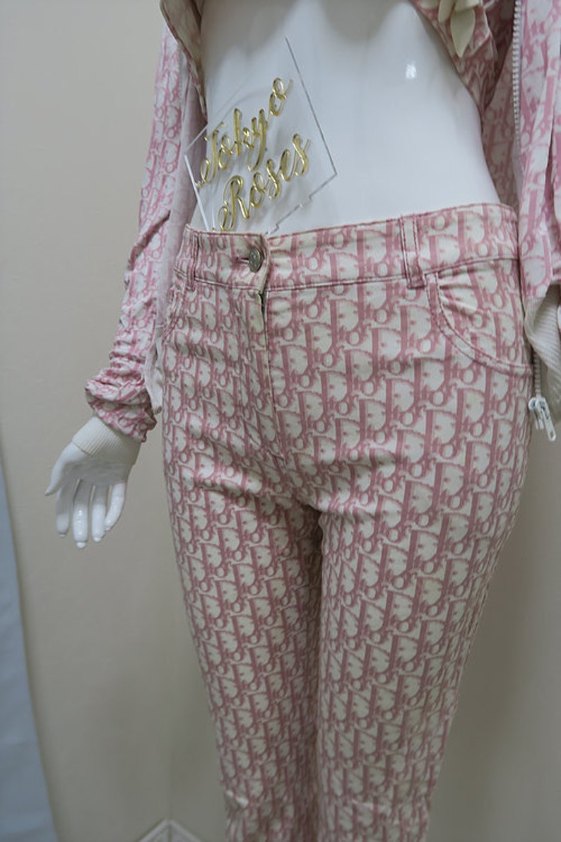 82306819c32 Christian Dior Pink Trotter Monogran Logo Print Pants Ankle | Etsy