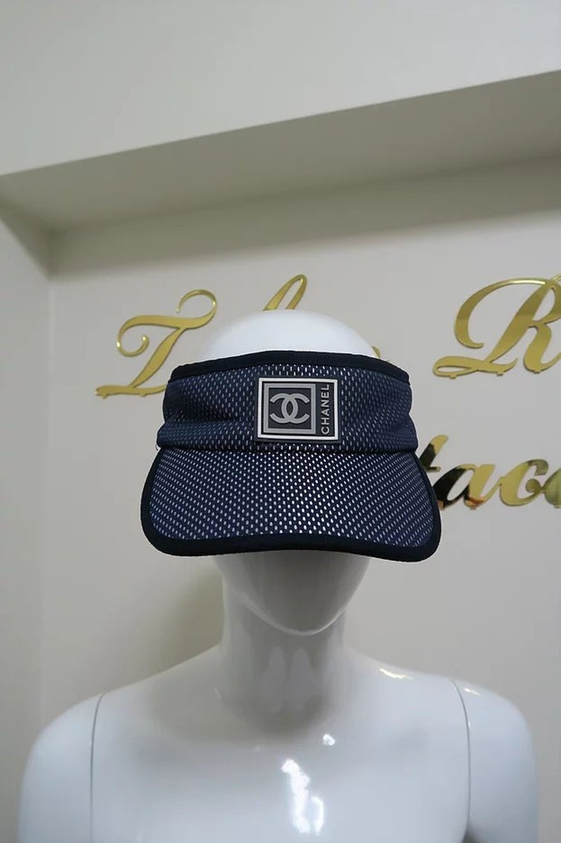 4571633cbfb Chanel Vintage Sports Line Sun Visor Hat Navy