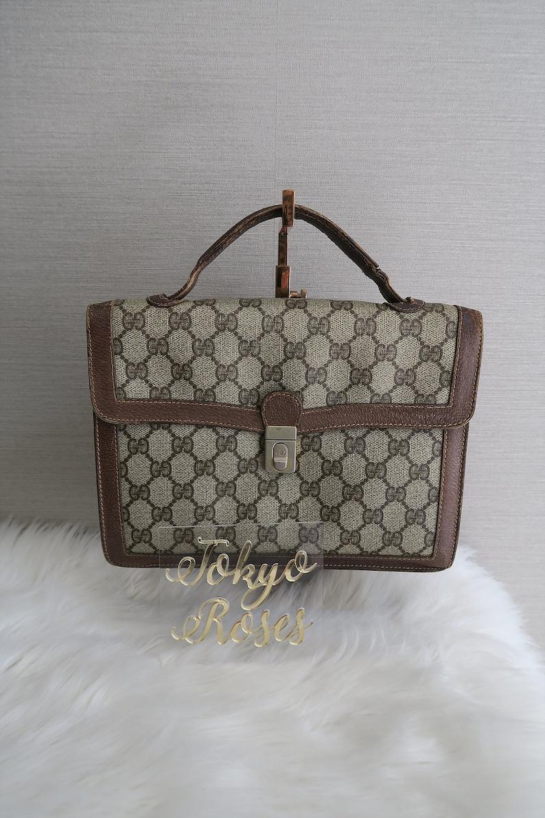 da6a5bcf58a8 Vintage Gucci GG Monogram Canvas & Leather Business Bag   Etsy