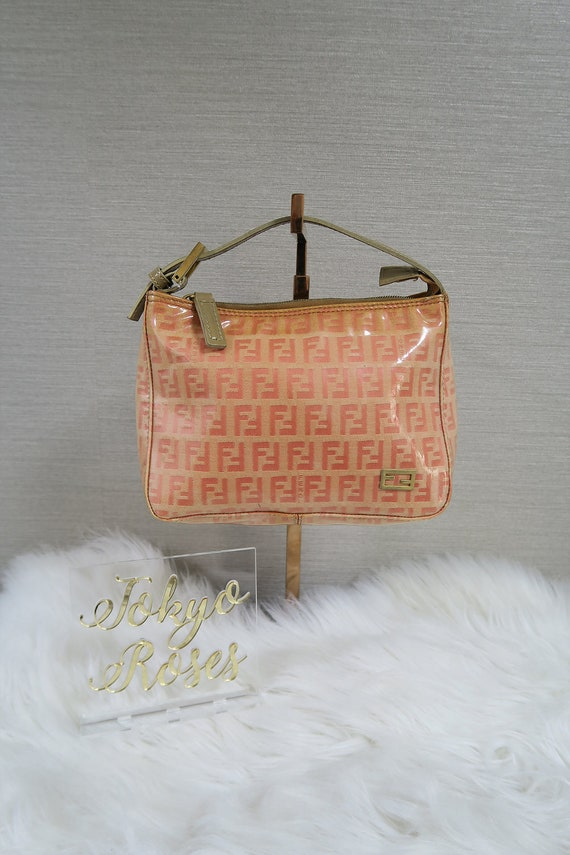 15129429080f Pink Fendi FF Monogram Zucca Print Mini Bag Coated Canvas