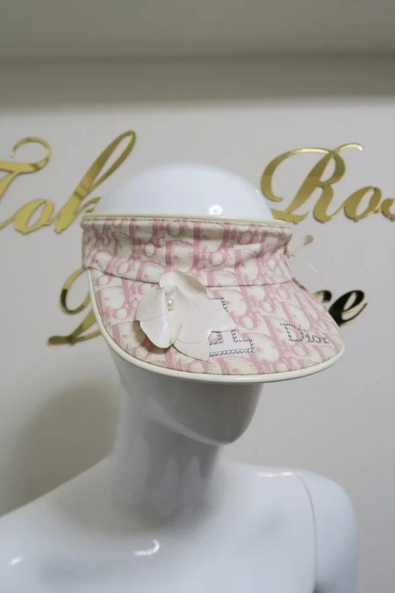 Christian Dior Trotter Sun Visor Hat Pink White Tr