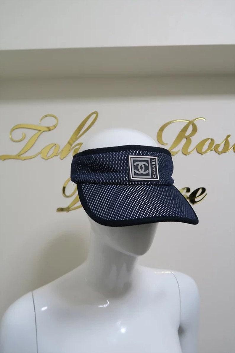 7a0cb59a5 Chanel Vintage Sports Line Sun Visor Hat Navy