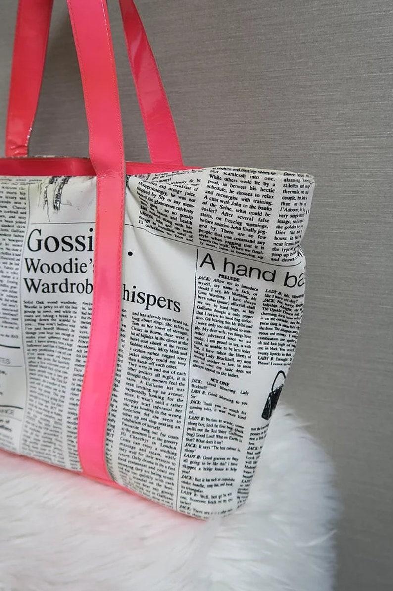 cb4af81201c1d John Galliano Newspaper Print Gazette Handbag Neon Pink