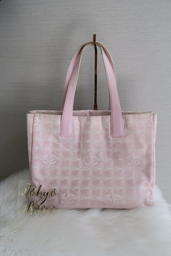 535047eeff29ec Chanel Pink Travel Line Tote Bag Vintage CC Handbag | Etsy