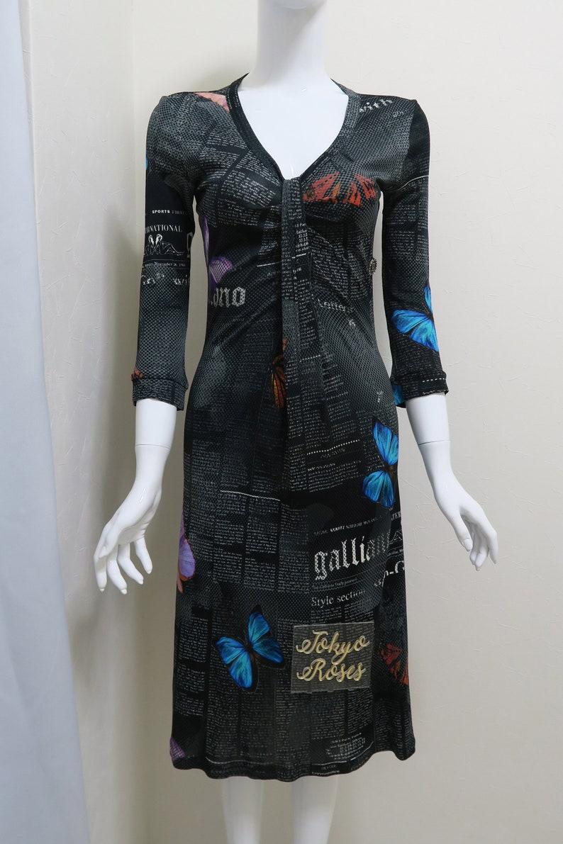 696d277bd81ef John Galliano Gazette Newspaper Print Long Sleeve Dress Black Butterfly  Price