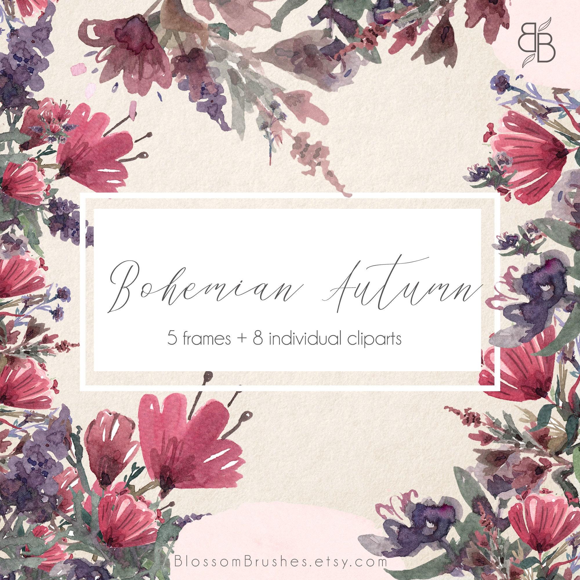845262c9a1ba Bohemian autumn floral borders and frames floral clipart etsy jpg 2000x2000  Etsy olive leaf frame clipart