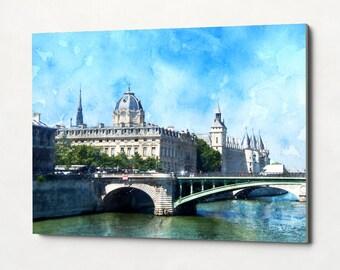 PARIS #2 Stretched Canvas Watercolor Skyline Paris Seine Oil Painting Landscape Panorama Art Print Nursery Painting Home Decor Travel Poster
