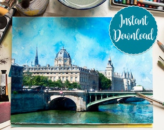 PARIS #2 Digital Download Watercolor Landscape Paris Seine Skyline Oil Painting Canvas France Art Print Landscape Painting Home Decor