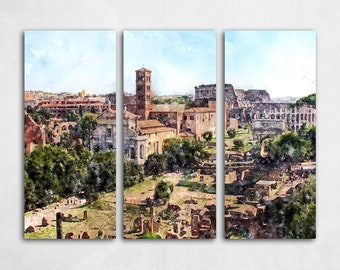 """LARGE 36""""x48"""" 3 panel ROME Stretched Canvas Watercolor Skyline Panorama Rome Italy Canvas Landscape Art Print Painting Poster"""