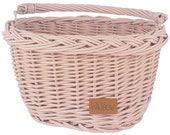 Wiklibox wicker bike basket for kids mounted on the hooks in DUSTY PINK color. Ecological Paint