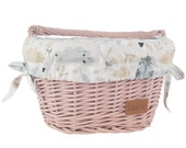 Wiklibox wicker bike basket for kids mounted on the hooks in DUSTY PINK color with liner (variants). Polish product