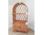 Wiklibox wicker cabinet with doors quot Isabell quot in NATURAL color with pompoms