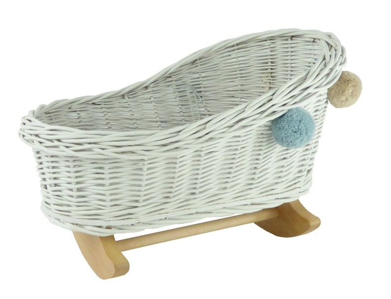 Wiklibox wicker /& beech wood doll/'s cradle in WHITE color with pompoms Polish product