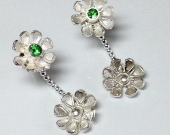Floating  Silver Daisy earrings with Tsavorite garnets.