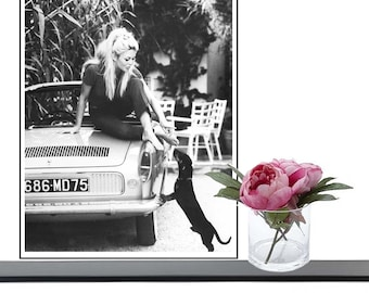 Fashion Photography, Brigitte Bardot, Dog, Black and White, Portrait, Wall art, Print, Poster, Instant Download