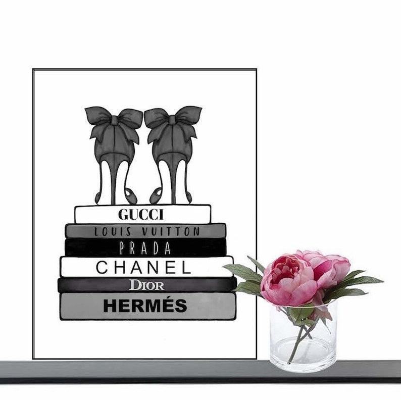 4b750e3729cf06 Fashion Books Poster Wall art Print Chanel Dior Hermés   Etsy