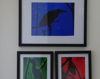 Heron Silhouette Set- Framed
