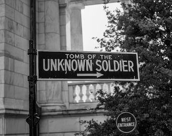 Tomb of the Unknown Soldier Sign (Black and White)
