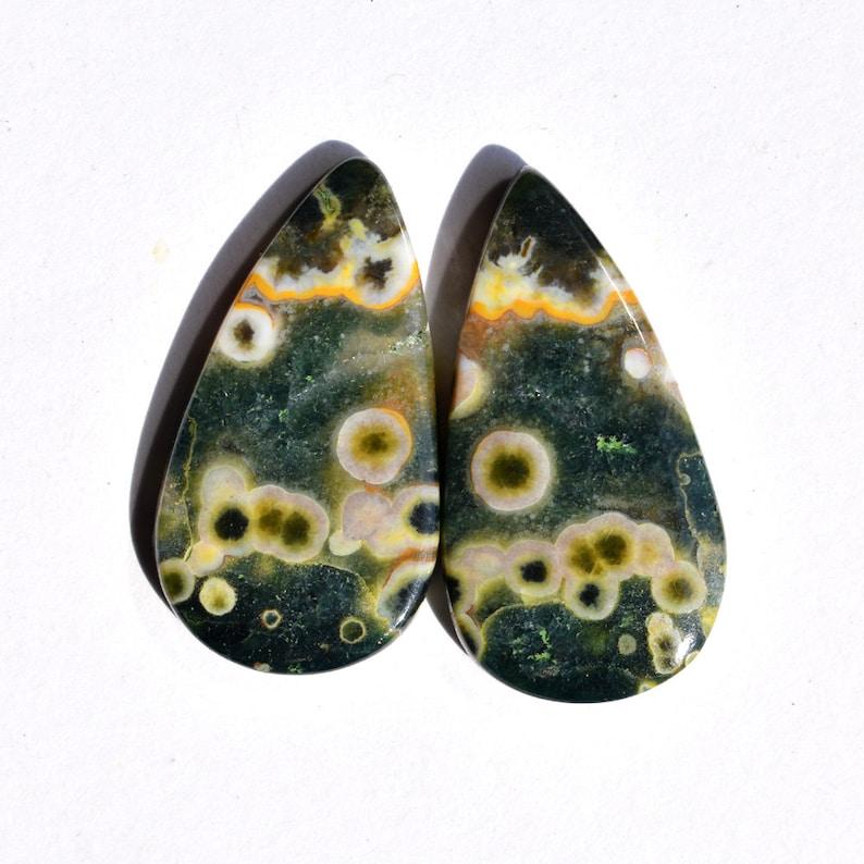 Ocean Jasper Pair NP0079 Matching Pair For Earrings Natural Ocean Jasper Cabochon Pear Shape Stone |28x15x3.5mm| |25.90Cts|