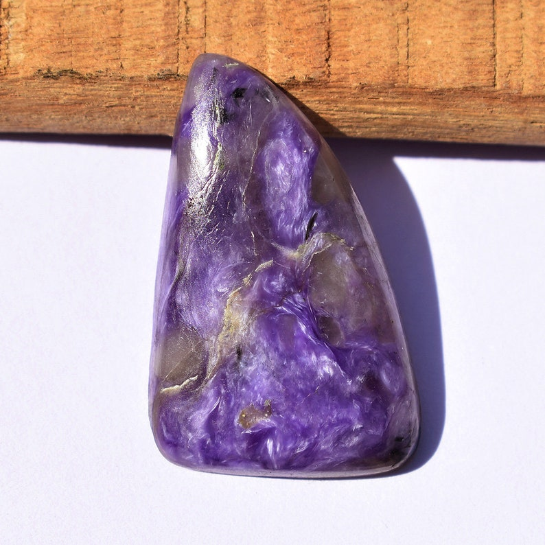 26.35 Cts Charoite Cabochon Natural Gemstone For Jewelry Making Violet Purple Gemstone Triangle Shape 29X19X5 MM A0075