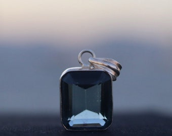 Blue Tourmaline on sterling silver