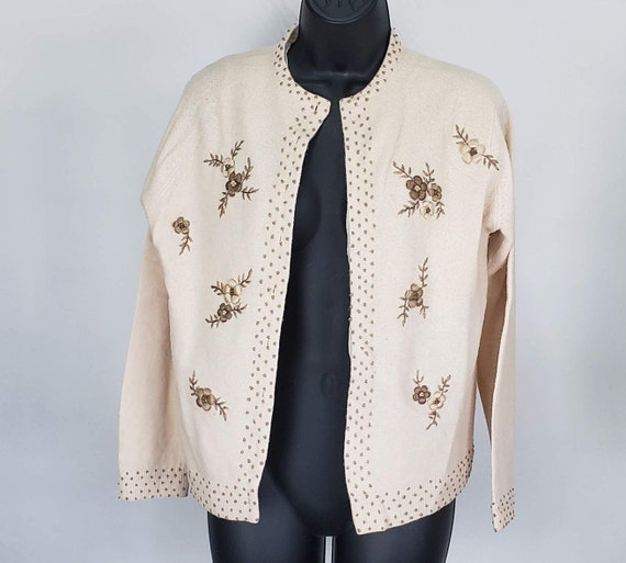 Embroidered Floral Cardigan, Embroidered Sweater,
