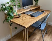 Rustic Computer Desk and Monitor Shelf - Brass Hairpin Legs - Rustic Desk - Office Desk - Home office-Music Desk for Speakers -
