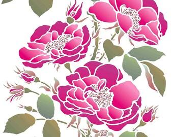 Oversize LARGE Wild Rose Flower Stencil ©