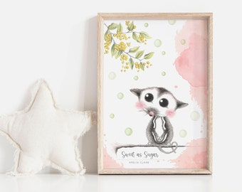 Sweet as Sugar 2 Personalisable Art Print | Nursery Art Print | Art Print for Girl | Baby Shower Gift | Sugar Glider | Baby Animal Art