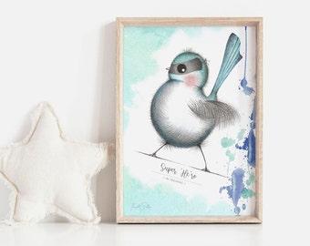 Super 'Me-ro' 2 Art Print | Nursery Art | Neural Art | Fairy Wren Art | Art for Girls | Art for Boys | Baby Shower Gift | Fine Art Quality