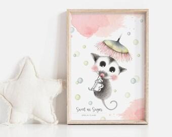 Sweet as Sugar Personalisable Art Print | Nursery Print | Baby Shower Gift | Art for Girls | Sugar Glider Art | Australian Animals