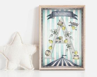 H, I, J, K...ELLAMANO...Trap-P's Art Print | Personalised Art | Giclée | Gift for Baby | Gift for Girl | Alphabet Art Kids | Customisable