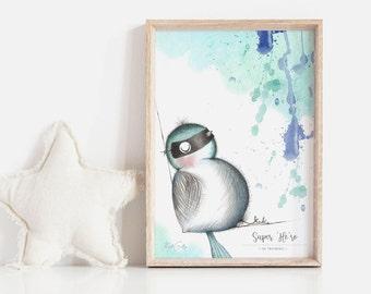 Super 'Me-ro' 3 | Art Print | Nursery Art Print | Fairy Wren | Art Print for Boy | Art Print for Girl | Kids Art Print | Watercolou